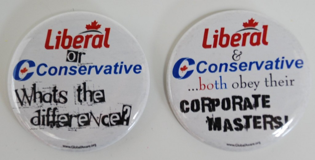 Liberal and Conservative - politcal buttons