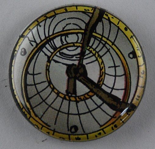 steampunk button, clock button, pin-back button