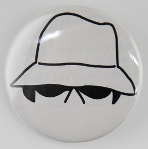 white hat button, hacker button, pin-back button