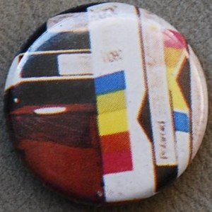 vhs button, retro pin-back button