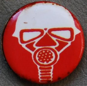 gasmask button, red button, steampunk button