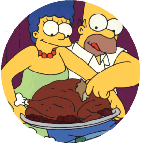 thanksgiving button, thanksgiving pin-back button, simpsons button