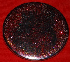 sparkle button, metal button, red sparkle button , sparkle pin-back button, DIY button