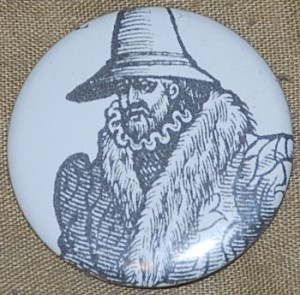 black and white button, old man button, cut out, pin-back button, drawing