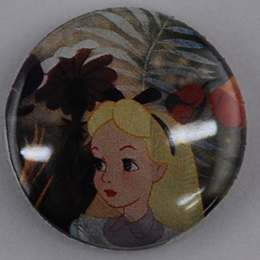 Alice in Wonderland pin-back button